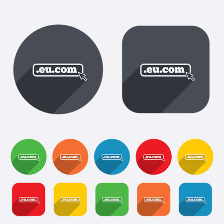 subdomain: Domain EU.COM sign icon. Internet subdomain symbol with cursor pointer. Circles and rounded squares 12 buttons.