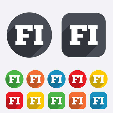 finnish: Finnish language sign icon. FI Finland translation symbol. Circles and rounded squares 12 buttons.