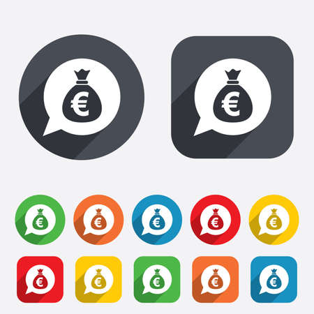 eur: Money bag sign icon. Euro EUR currency speech bubble symbol. Circles and rounded squares 12 buttons.