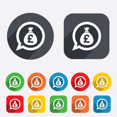 gbp: Money bag sign icon. Pound GBP currency speech bubble symbol. Circles and rounded squares 12 buttons. Stock Photo