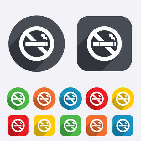 No Smoking sign icon. Cigarette symbol. Circles and rounded squares 12 buttons. photo