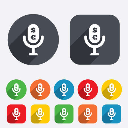 usr: Microphone icon. Speaker symbol. Paid music sign. Circles and rounded squares 12 buttons. Stock Photo