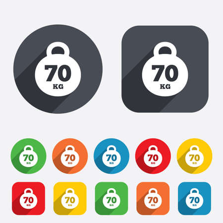 kilogram: Weight sign icon. 70 kilogram (kg). Sport symbol. Fitness. Circles and rounded squares 12 buttons.