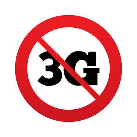 3g: Icono de se�al 3G. Telecomunicaciones m�vil s�mbolo tecnolog�a. Se�al de prohibici�n rojo. Deje de s�mbolo. Vector