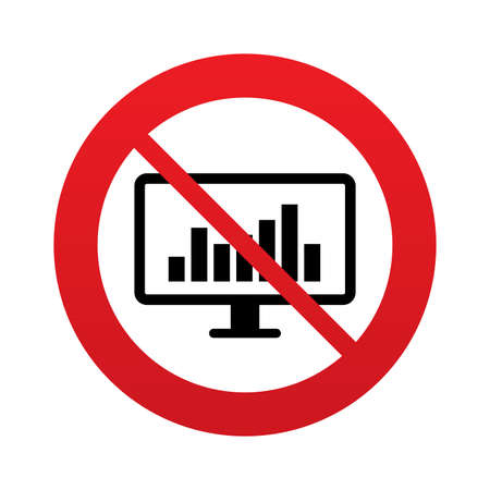 Computer monitor sign icon. Market monitoring. Red prohibition sign. Stop symbol. Vector Vector