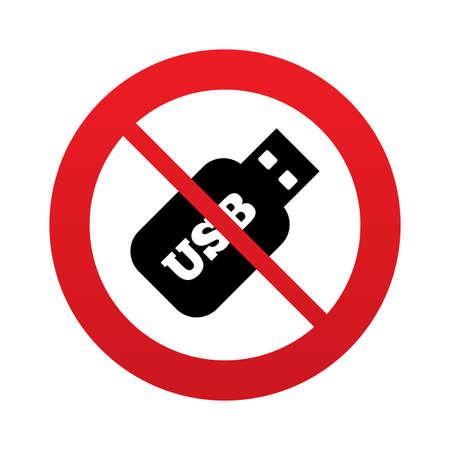 Usb スティックの記号アイコン。Usb フラッシュ ドライブのボタン。赤い禁止の標識です。シンボルを停止します。ベクトル