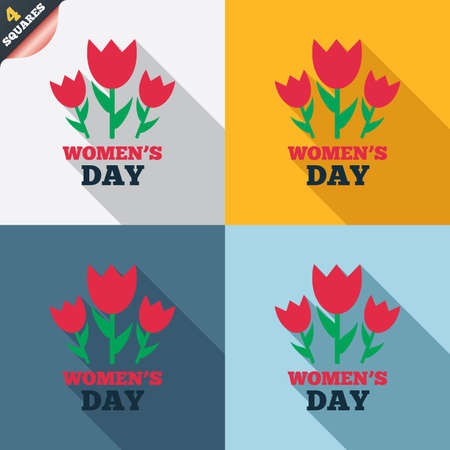 8 March Women's Day sign icon. Flowers symbol. Four squares. Colored Flat design buttons. Vector Stock Vector - 26355961