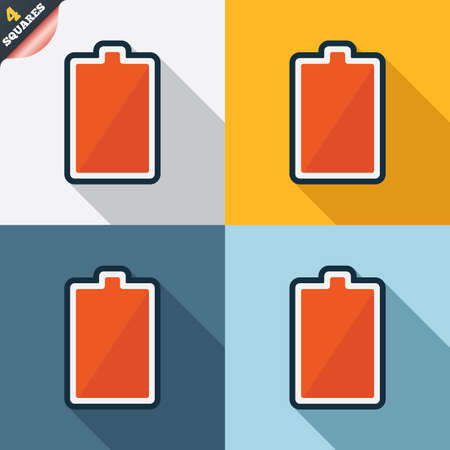 Battery fully charged sign icon. Electricity symbol. Four squares. Colored Flat design buttons. Vector Stock Vector - 26356097