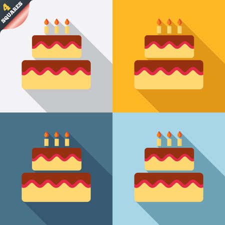 cakes: Birthday cake sign icon. Cake with burning candles symbol. Four squares. Colored Flat design buttons. Vector