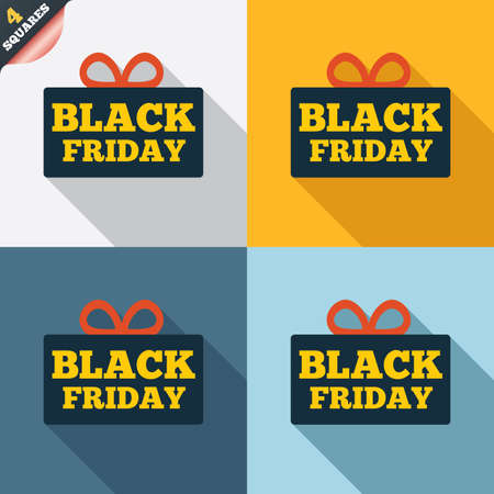 Black friday gift sign icon. Sale symbol. Special offer label. Four squares. Colored Flat design buttons. Vector Vector