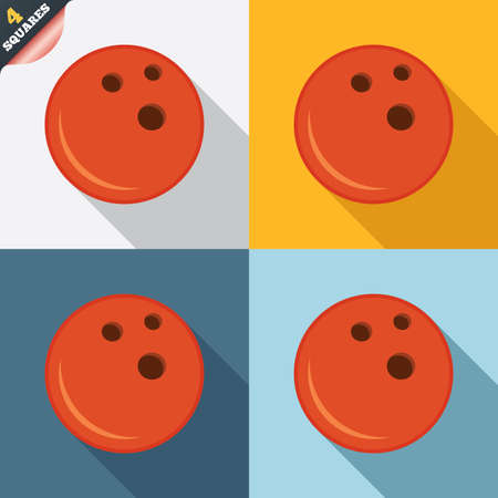 Bowling ball sign icon. Bowl symbol. Four squares. Colored Flat design buttons. Vector Vector