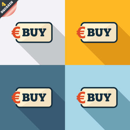 Buy sign icon. Online buying Euro eur button. Four squares. Colored Flat design buttons. Vector Vector