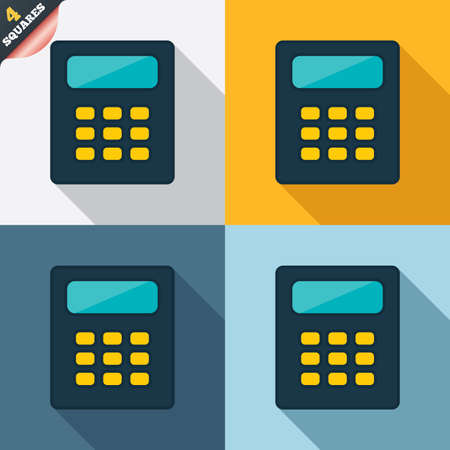 Calculator sign icon. Bookkeeping symbol. Four squares. Colored Flat design buttons. Vector