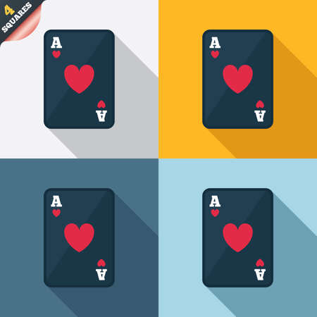 Casino sign icon. Playing card symbol. Ace of hearts. Four squares. Colored Flat design buttons. Vector Vector