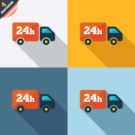 24 hours delivery service. Cargo truck symbol. Four squares. Colored Flat design buttons. Vector
