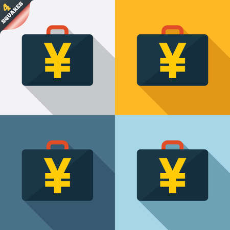jpy: Case with Yen JPY sign icon. Briefcase button. Four squares. Colored Flat design buttons. Vector