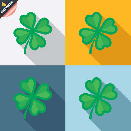 Clover with four leaves sign icon. Saint Patrick symbol. Four squares. Colored Flat design buttons. Vector Vector