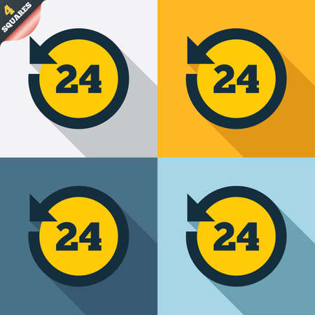 24 hours customer service. Round the clock support symbol. Four squares. Colored Flat design buttons. Vector Vector