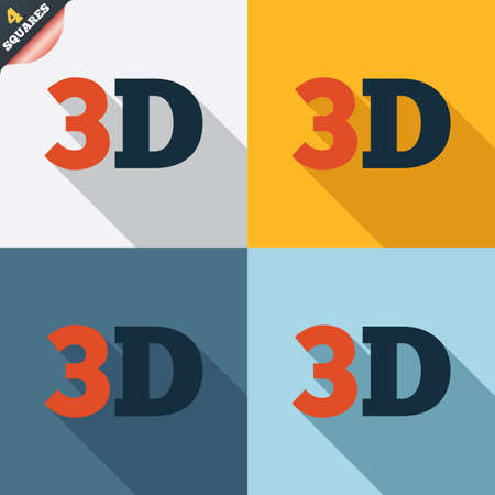 3D sign icon. 3D New technology symbol. Four squares. Colored Flat design buttons. Vector Vector