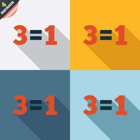 equals: Drei f�r eine Zeichen-Symbol. Nehmen Sie drei Lohn f�r einen Verkauf-Taste. 3 gleich 1. Vier Quadrate. Farbige Flache Bauweise Tasten. Vektor