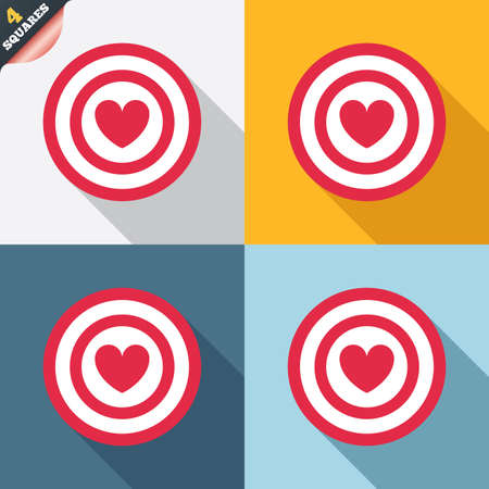 Target aim sign icon. Darts board symbol with heart in the center. Four squares. Colored Flat design buttons. Vector Vector