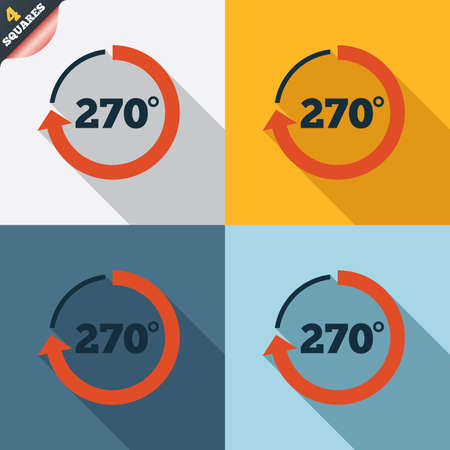 seventy two: Angle 270 degrees sign icon. Geometry math symbol. Four squares. Colored Flat design buttons. Vector