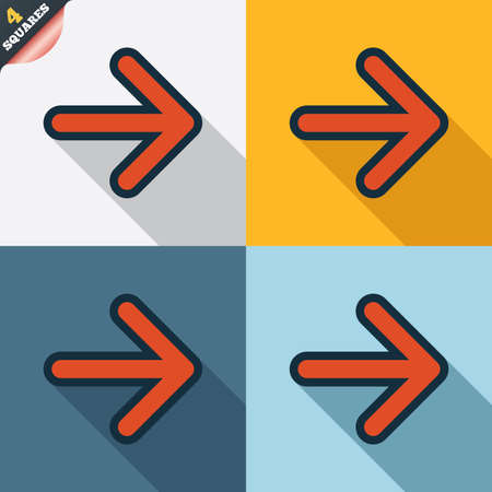 wrapped corner: Arrow sign icon. Next button. Navigation symbol. Four squares. Colored Flat design buttons. Vector