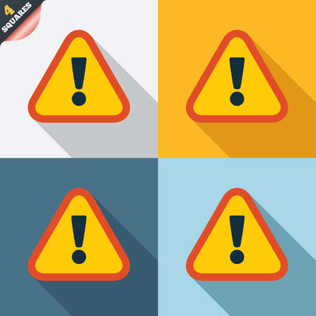 Attention sign icon. Exclamation mark. Hazard warning symbol. Four squares. Colored Flat design buttons. Vector