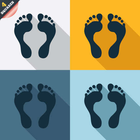 feet: Human footprint sign icon. Barefoot symbol. Foot silhouette. Four squares. Colored Flat design buttons. Vector Illustration