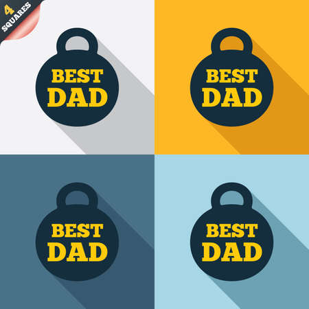 Best dad sign icon. Award weight symbol. Four squares. Colored Flat design buttons. Vector Vector