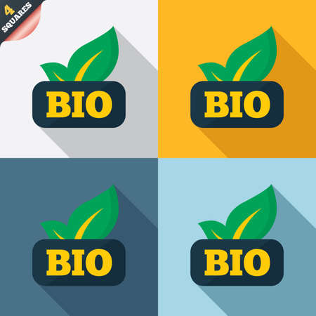 Bio product sign icon. Leaf symbol. Four squares. Colored Flat design buttons. Vector Vector