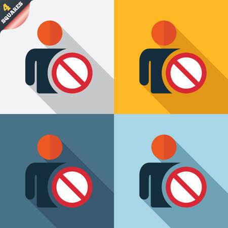 blacklist: Blacklist sign icon. User not allowed symbol. Four squares. Colored Flat design buttons. Vector Illustration
