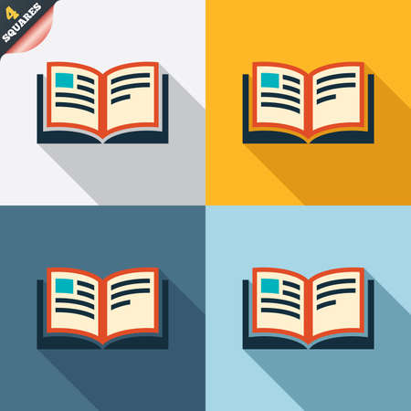 Book sign icon. Open book symbol. Four squares. Colored Flat design buttons. Vector Vector