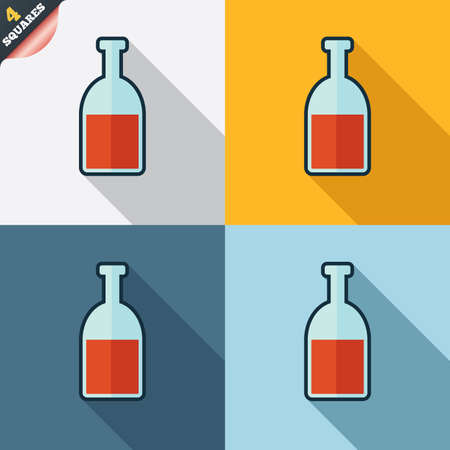 Alcohol sign icon. Drink symbol. Bottle. Four squares. Colored Flat design buttons. Vector Vector