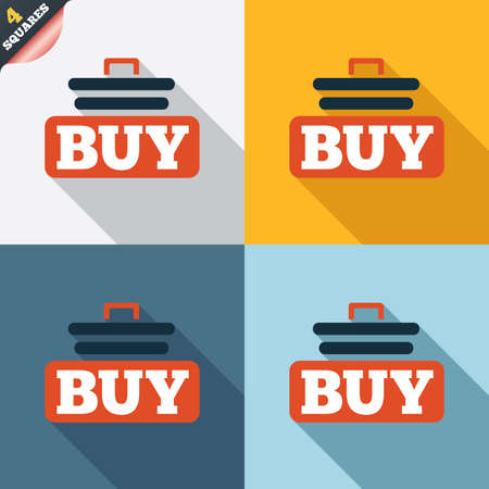 Buy sign icon. Online buying cart button. Four squares. Colored Flat design buttons. Vector Vector