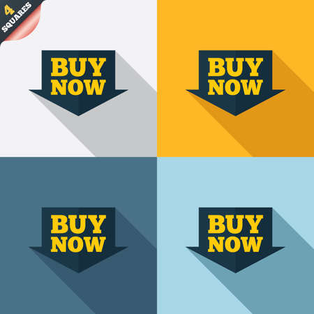Buy now sign icon. Online buying arrow button. Four squares. Colored Flat design buttons. Vector Vector