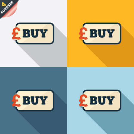 gbp: Buy sign icon. Online buying Pound gbp button. Four squares. Colored Flat design buttons. Vector