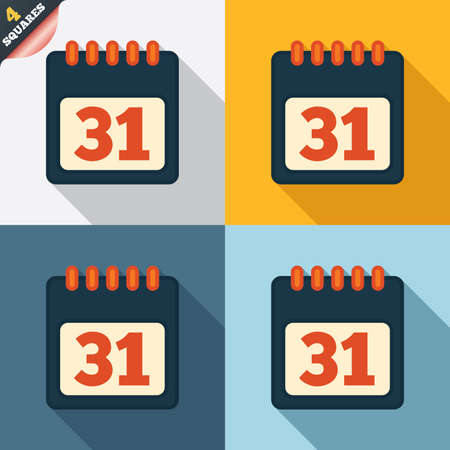 31: Calendar sign icon. 31 day month symbol. Date button. Four squares. Colored Flat design buttons. Vector Illustration