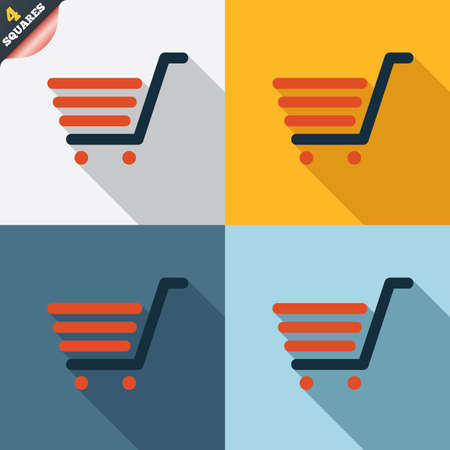 Shopping Cart sign icon. Online buying button. Four squares. Colored Flat design buttons. Vector Vector