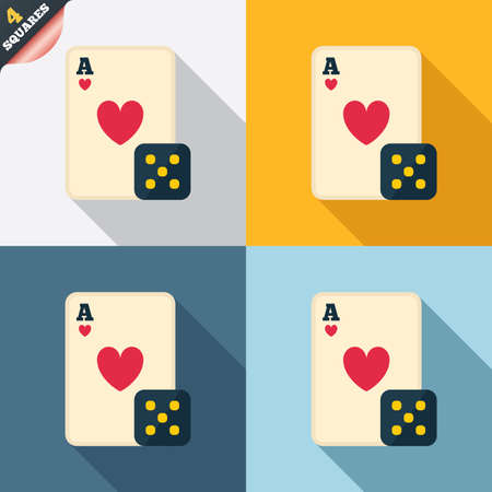 Casino sign icon. Playing card with dice symbol. Four squares. Colored Flat design buttons. Vector Vector