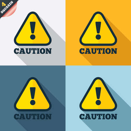warning mark: Attention caution sign icon. Exclamation mark. Hazard warning symbol. Four squares. Colored Flat design buttons. Vector