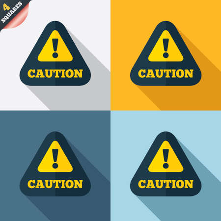 Attention caution sign icon. Exclamation mark. Hazard warning symbol. Four squares. Colored Flat design buttons. Vector Vector