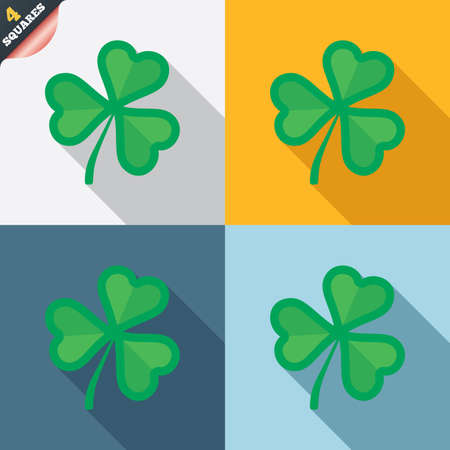 Clover with three leaves sign icon. Trifoliate clover. Saint Patrick trefoil symbol. Four squares. Colored Flat design buttons. Vector Vector