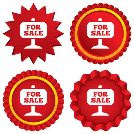 For sale sign icon. Real estate selling. Red stars stickers. Certificate emblem labels. Vector Vector