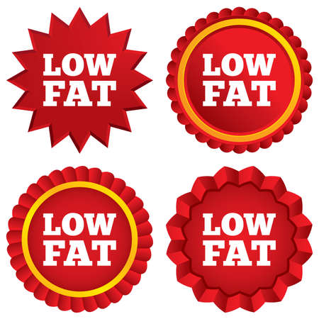low prizes: Low fat sign icon. Salt, sugar food symbol. Red stars stickers. Certificate emblem labels. Vector Illustration
