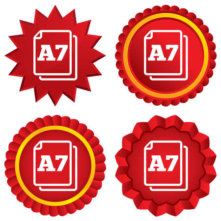 a7: Paper size A7 standard icon. File document symbol. Red stars stickers. Certificate emblem labels. Vector Illustration