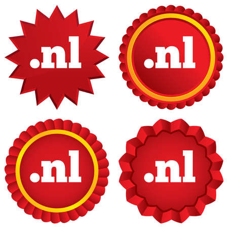 nl: Domain NL sign icon. Top-level internet domain symbol. Red stars stickers. Certificate emblem labels. Vector