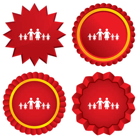 Complete family with many children sign icon. Large family symbol. Red stars stickers. Certificate emblem labels. Vector
