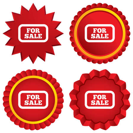 for sale sign: For sale sign icon. Real estate selling. Red stars stickers. Certificate emblem labels. Vector