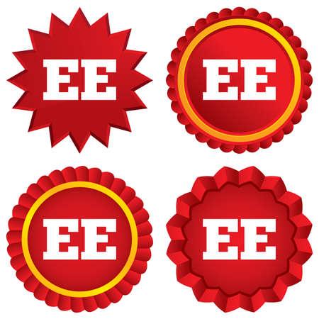 ee: Estonian language sign icon. EE translation symbol. Red stars stickers. Certificate emblem labels. Vector